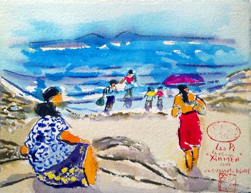 Jean-Pierre CHEVASSUS-AGNES - Dessin-Aquarelle - sur la plage à XIAMEN ( R.P. CHINE )