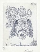 Pablo PICASSO - Estampe-Multiple - Portrait de Mousquetaire vieillissant, au visage couperose (