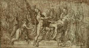 Elie Honoré MONTAGNY - Drawing-Watercolor - ACHILLE PLEURE LA MORT DE PATROCLE