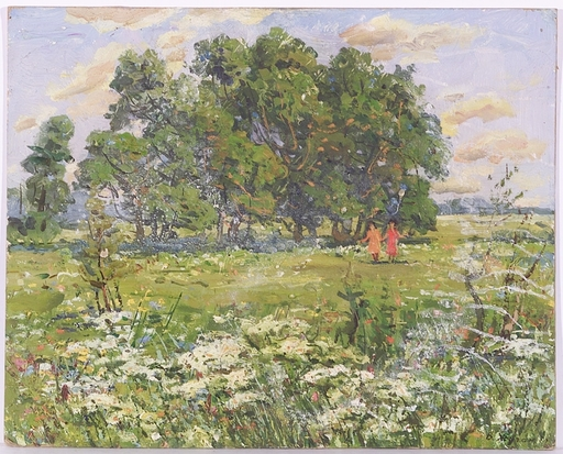 "Vladimir Aleksandrovich ZHUGAN - Painting - ""Walk on a Meadow"", Oil Painting, 1970"