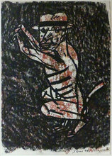 Antonio SEGUI - Dibujo Acuarela - Perro, L'homme singe