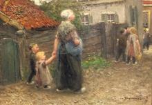 Bernardus Johannes BLOMMERS - Painting - A Walk into Town