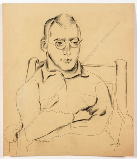 "Boris DEUTSCH - Dessin-Aquarelle - ""Portrait of a young man"", drawing"