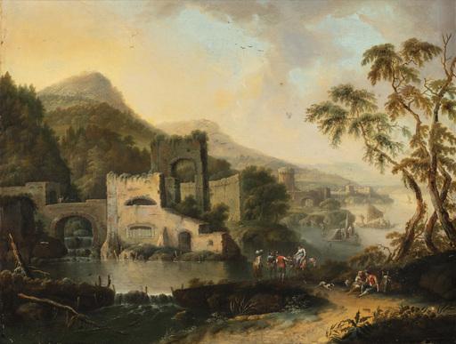 Michele PAGANO - Gemälde - Paesaggio con fiume, edifici e viandanti