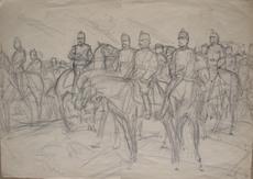 Louis DUNKI - Dessin-Aquarelle - Général Wille et son état-major 1914