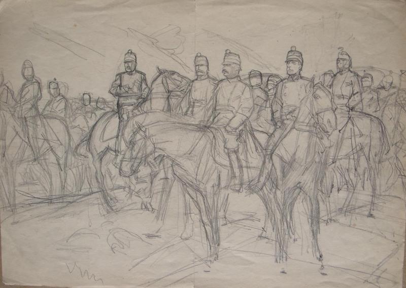 Louis DUNKI - Dibujo Acuarela - Général Wille et son état-major 1914
