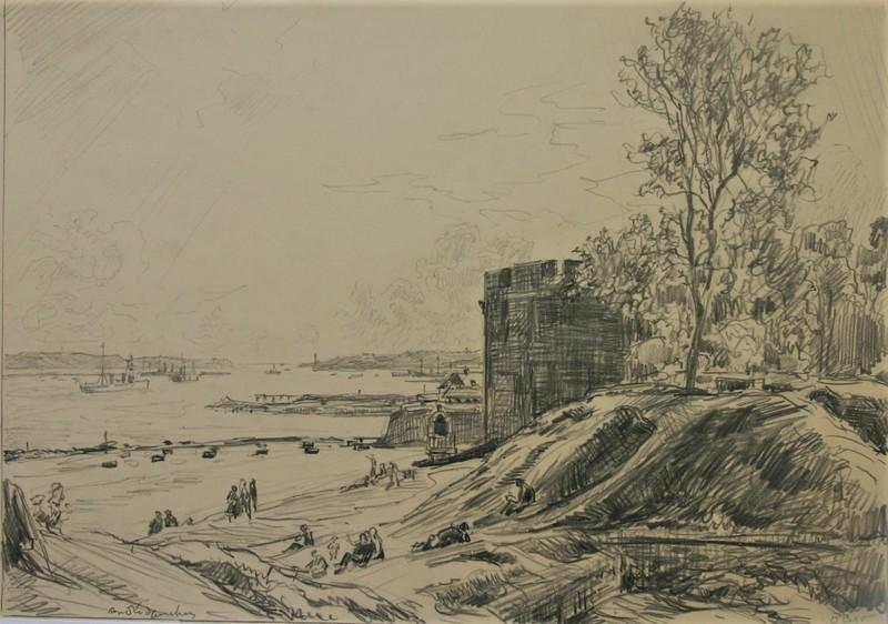 André DAUCHEZ - Dibujo Acuarela - Vue de Brest, Bretagne