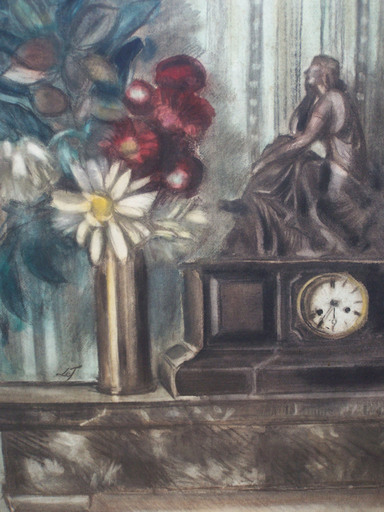 "Henri LE FAUCONNIER - Drawing-Watercolor - ""Still life with clock"""