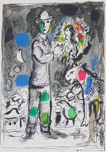 Marc CHAGALL - Print-Multiple - Peasant with Bouquet   Paysan au Bouque