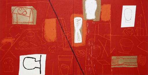 Mimmo PALADINO - Painting - Red Studio