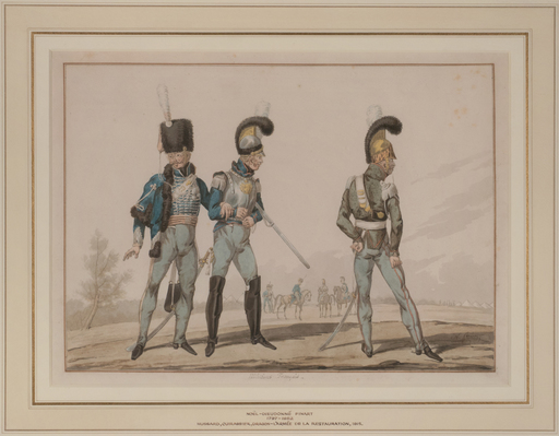 Noël-Dieudonné FINART - Disegno Acquarello - Uniforms of a Hussar, Cuirassier and Dragoon
