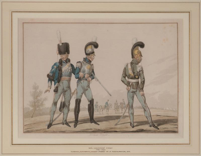 Noël-Dieudonné FINART - Disegno Acquarello - Uniforms of a Hussar, Cuirassier and Dragoon