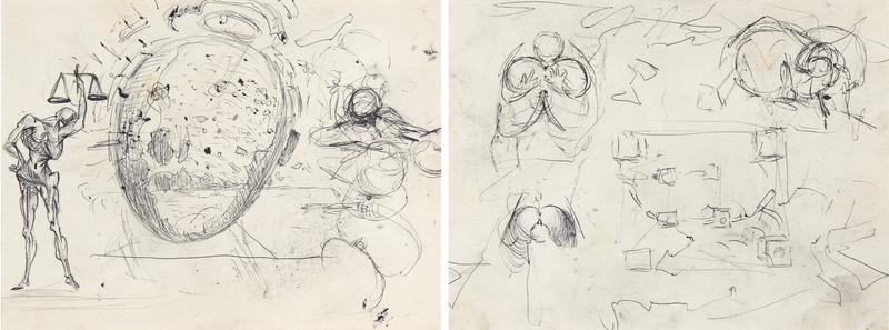 Salvador DALI - Drawing-Watercolor - Étude pour les tableaux : Galatée en formation et Vitesse ma