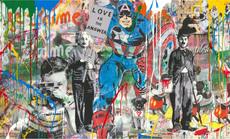 MR BRAINWASH - Painting - Mixed Wall- Capt. America