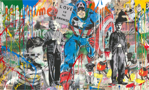 MR BRAINWASH - Pintura - Mixed Wall- Capt. America