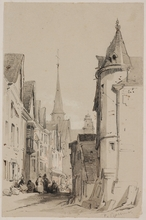 """François Antoine BOSSUET - Drawing-Watercolor - """"In Old European Town"""", early 19th century"""