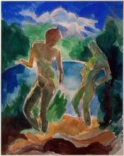 Fritz SCHAEFLER - Drawing-Watercolor - Mädchen am See