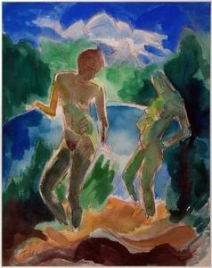 Fritz SCHAEFLER - Dessin-Aquarelle - Mädchen am See