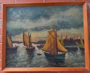 Frantisek REICHENTAL - Painting - Sailsboat at sea