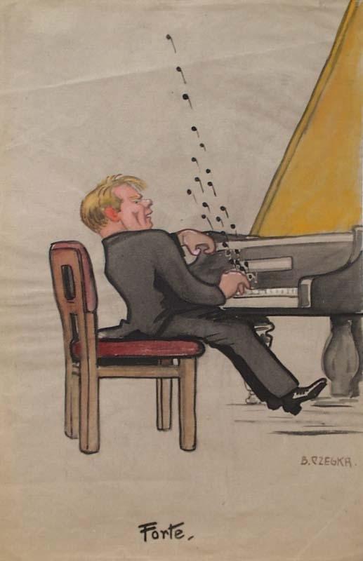 "Bertha CZEGKA - Drawing-Watercolor - ""Forte"" by Berta Czegka, early 20th century"