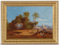 "Friedrich PERLBERG - Peinture - ""Palm Grove by Cairo"", oil painting, late 19th century"