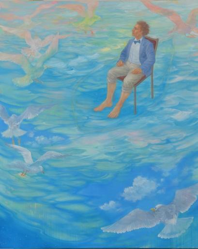 Hiromi SENGOKU - Painting -  An explorer and his blue boat