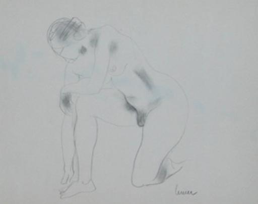 Marcel LEMAR - Zeichnung Aquarell - Nu