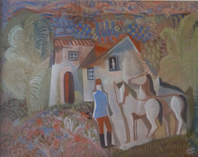 Béla KADAR - Pintura - Rider and Two Horses in front of a House