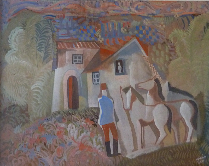 Béla KADAR - Painting - Rider and Two Horses in front of a House
