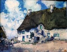 Ernest Pierre GUÉRIN - Dessin-Aquarelle - les maisons de Lotivy