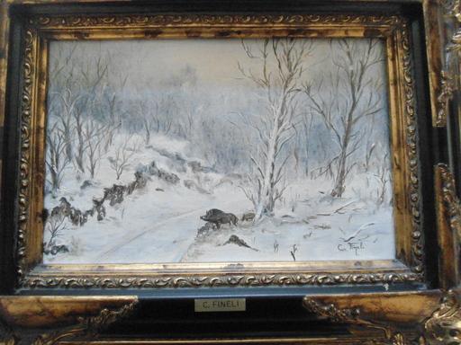 Claude FINELI - Peinture - Sangliers dans la neige.