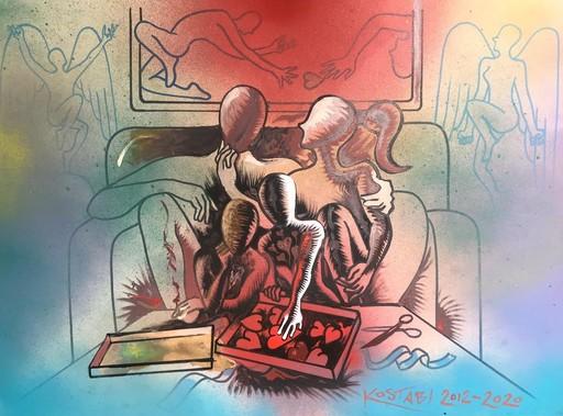 Mark KOSTABI - Disegno Acquarello - Family matters