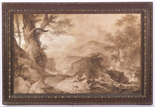 """Vinzenz FISCHER - Dibujo Acuarela -  """"Ideal Landscape with resting soldiers"""", late 18th Century"""