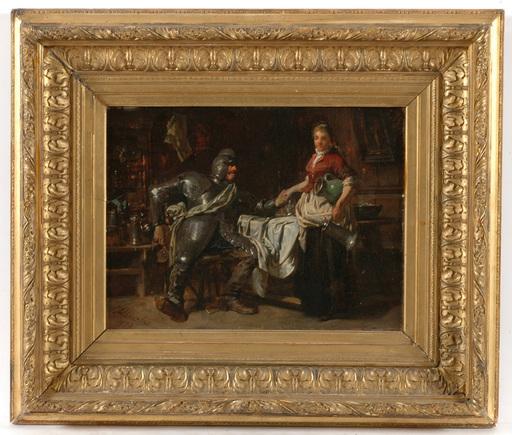"""Carl VON HÄBERLIN - Painting - Carl von Haeberlin (1832-1911) """"Knight and maid"""" oil"""