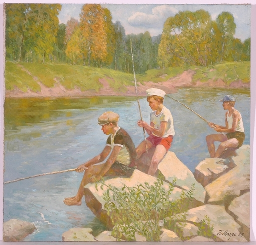 "Piotr MAGRO - Painting - ""Little Anglers"", Oil Painting, 1969"
