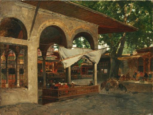 Alberto PASINI - Pintura - Caffè con portici a Beicos