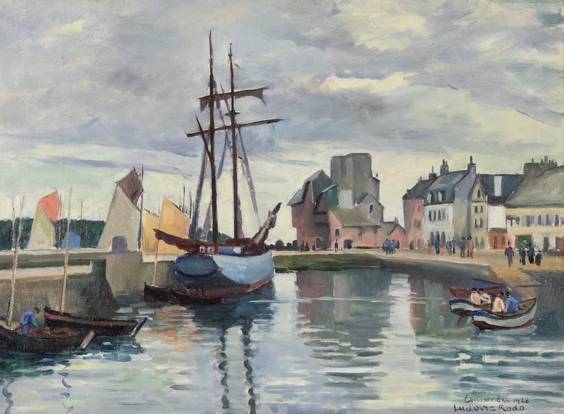 Ludovic Rodo PISSARRO - Painting - Concarneau Harbour, Brittany