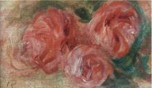 Pierre-Auguste RENOIR - Painting - Trois Roses-Fragment