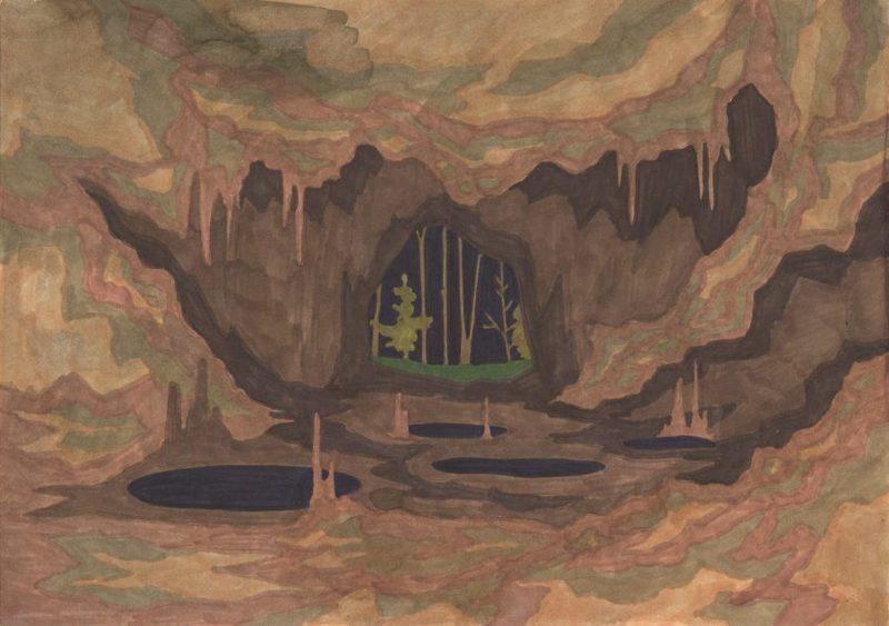 Marie LARRIVÉ - Drawing-Watercolor - « Intérieur Grotte »