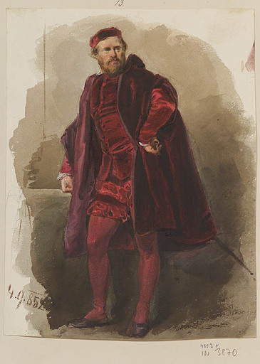 "Franz PITNER - Zeichnung Aquarell - ""Venetian Nobleman"", 1852"
