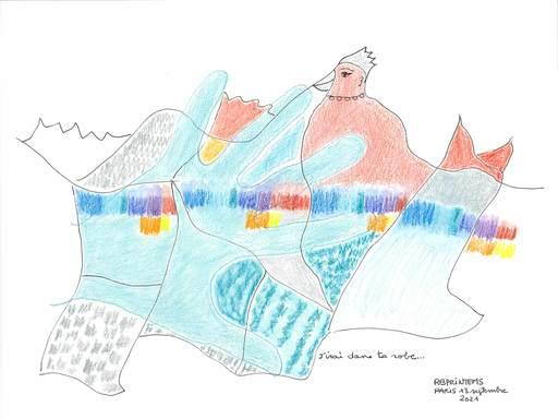 "Reine BUD-PRINTEMS - Zeichnung Aquarell - ""J'irai dans ta robe"""