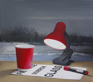 "Nataliya BAGATSKAYA - Pittura - ""Just Evening..."" hyperrealistic red lamp cap on grey"