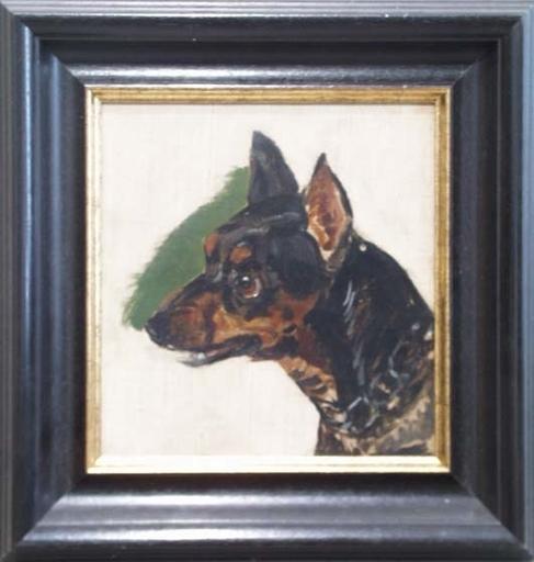 "Mathias RANFTL - Peinture - ""Dog Study"", Oil on Canvas, early 19th Century"