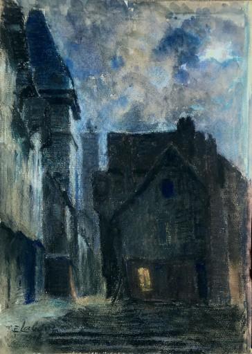 "Eugène LABARRE - Zeichnung Aquarell - ""UNE RUE LA NUIT 1903"""