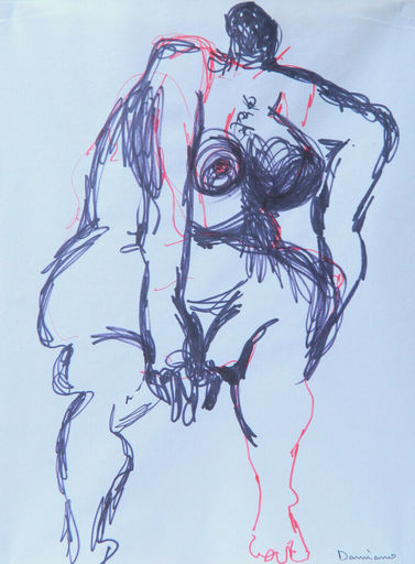 Bernard DAMIANO - Dibujo Acuarela - FEMME - WOMAN