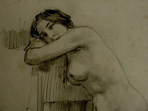 """Ulpiano CHECA Y SANZ - Drawing-Watercolor - """"Joven de bella mirada' Desnudo -Nu"""