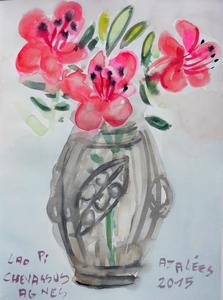 Jean-Pierre CHEVASSUS-AGNES - Dessin-Aquarelle - bouquet d' Azalées de mon jardin