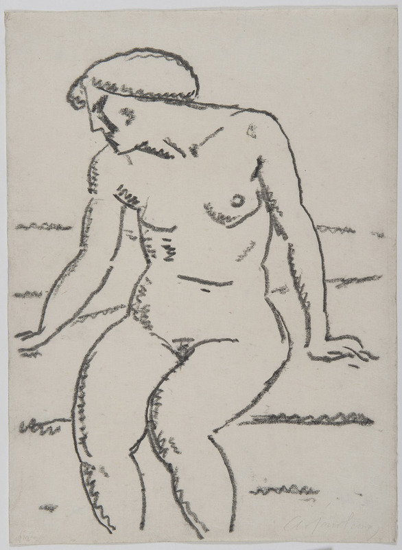 Alexej VON JAWLENSKY - Drawing-Watercolor - Nu assis avec le visage de profil