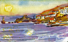 Jean-Pierre CHEVASSUS-AGNES - Drawing-Watercolor - lever du soleil sur ANDROS  CYCLADES  GRECE