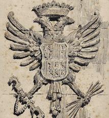 Ulpiano CHECA Y SANZ - Drawing-Watercolor -  L'AIGLE -ESCUDO -AGUILA - España